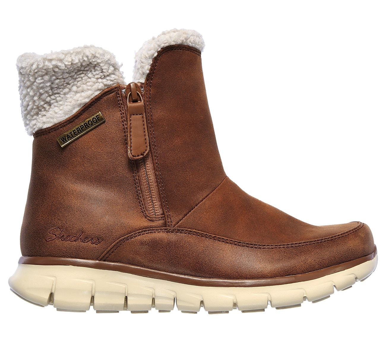 SKECHERS WOMENS SYNERGY WATERPROOF CHESTNUT